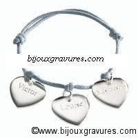 Bracelet cotton ciré gravure médaille coeur