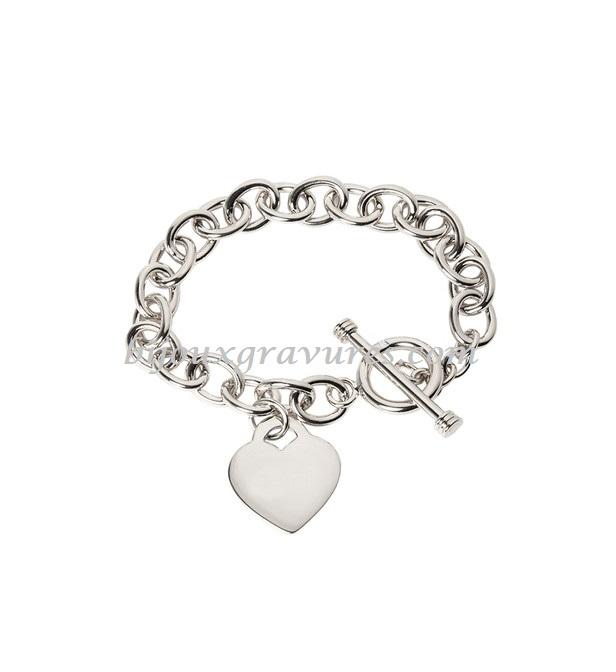 Bracelet breloque ARGENT 925/000 Gravure pendentif coeur