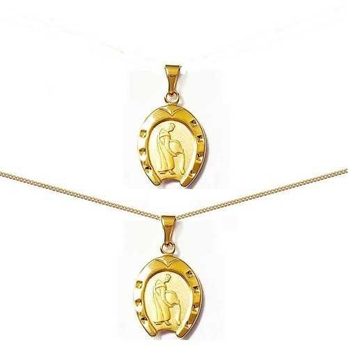 Pendentif fer à cheval plaqué or signe Astrologique  zodiaque  VERSEAU