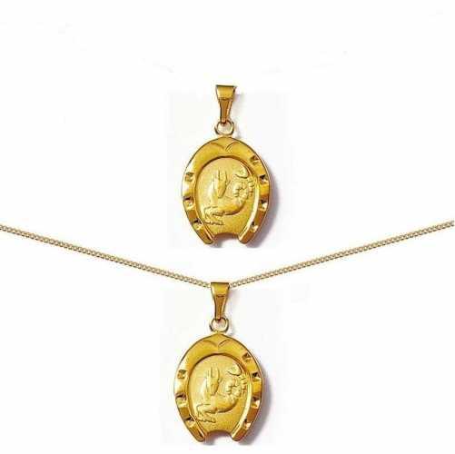 Pendentif fer à cheval plaqué or signe astrologique zodiaque CAPRICORNE