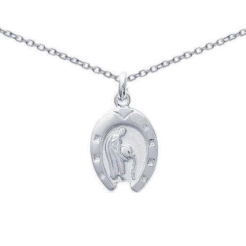 Pendentif ARGENT Rhodié fer a cheval signe zodiaque  astrologique VERSEAU