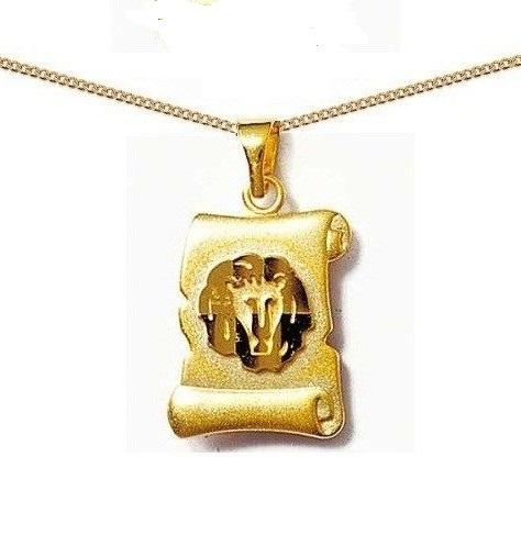 Pendentif Parchemin plaqué Or signe zodiaque LION