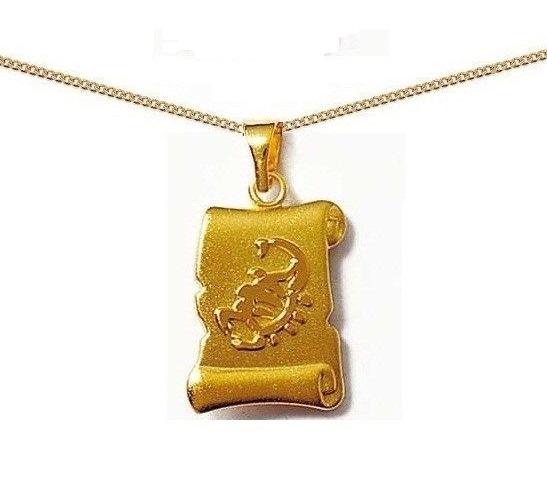 Pendentif Parchemin plaqué Or signe zodiaque SCORPION