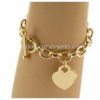 GRAVURE PENDENTIF COEUR<br /> Bracelet Plaqué or .