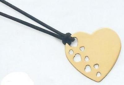Gravure médaille coeur  Plaqué or chaine cordon