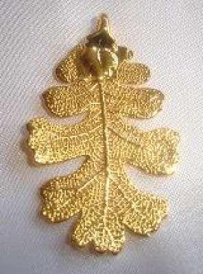 BIJOUX naturels  Pendentif Feuille de chêne Chaine 45 cm